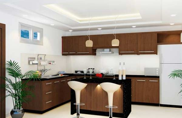 Vách thạch cao phòng bếp sang trọng